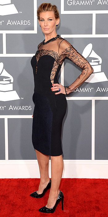 Faith Hill went with an LBD with embroidered sheer sleeves