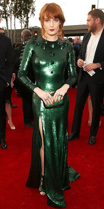 Missing the mark in green - Florence Welch in a Christmas Dinosaur inspired sequin dress