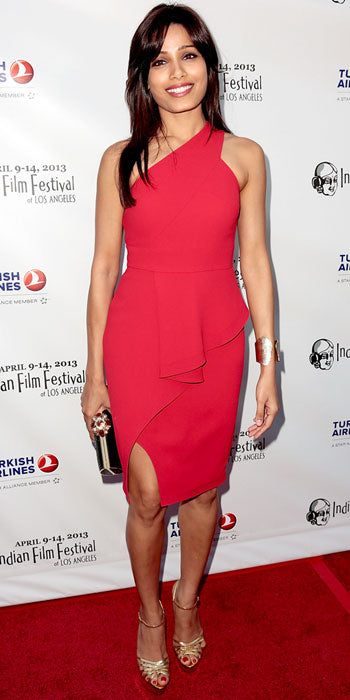 Freida Pinto attended the Indian Film Festival in a ruffled pink dress