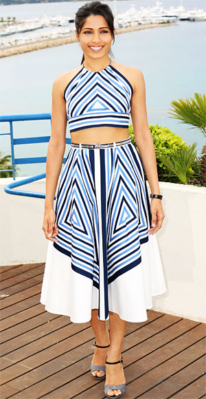 Freida Pinto attended the photo call for Desert Dancer in a chevron crop top and matching skirt by Salvatore Ferragamo