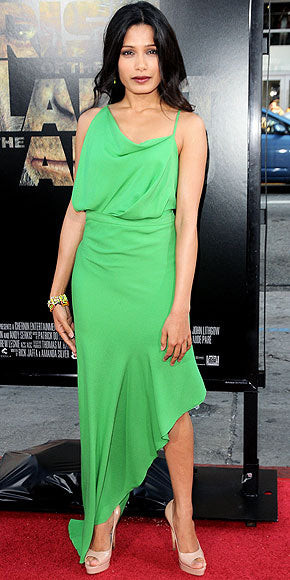 Freida Pinto is draped in the famous shade of green