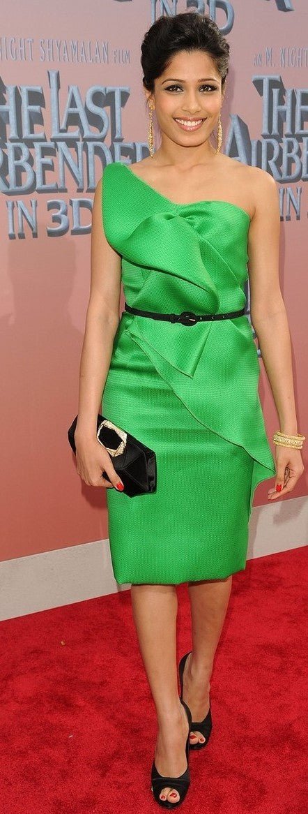 "Freida Pinto is enviable in emerald green at ""The Last Airbender"" Premiere in New York"