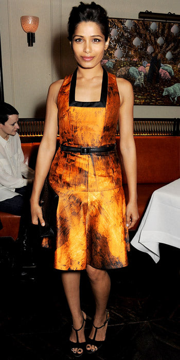 Freida Pinto smoldered in orange Proenza Schouler