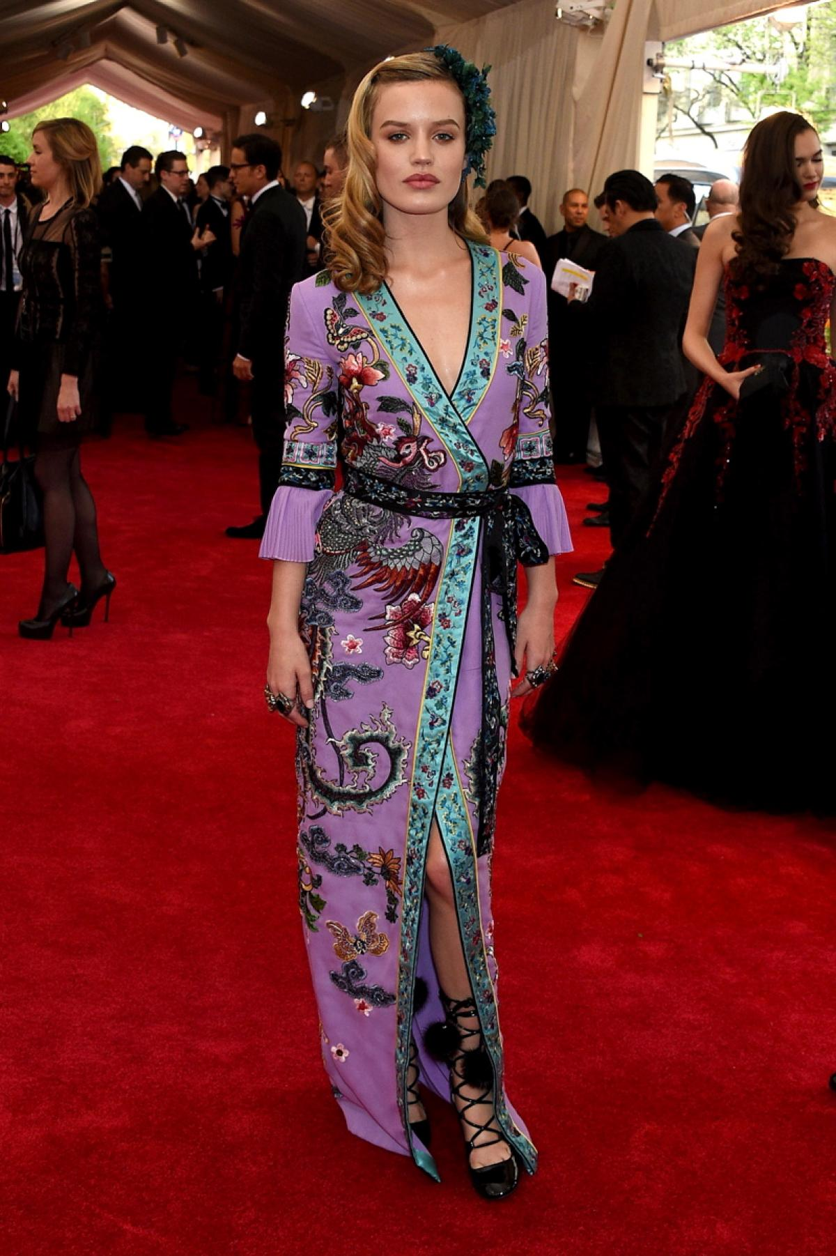 Georgia May Jagger looked lovely in an embellished Gucci robe.