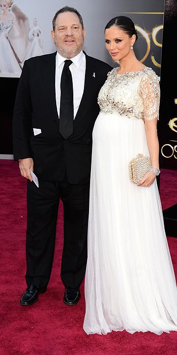 The queen of detail, Georgina Chapman showed off her bump in her own Marchesa creation with embroidered sleeves