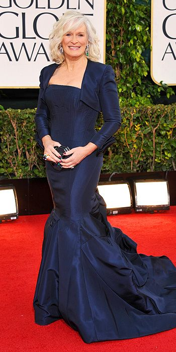 Glenn Close also looked elegant in a navy blue tafetta gown