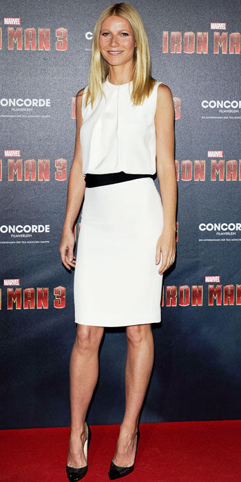 Gwyneth Paltrow attented the premiere of Iron Man in white