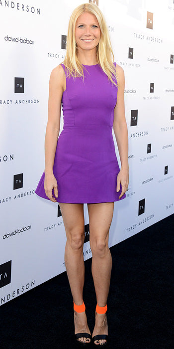Gwyneth Paltrow brightened up the red carpet in a purple Victoria Beckham dress and color blocked heels