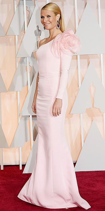 We're deeming Gwyneth Paltrow's pink, one-shouldered Ralph & Russo gown with a blooming shoulder, one of the chicest looks of the night.