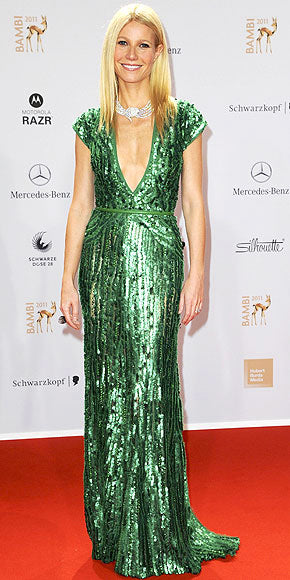 Gwyneth Paltrow is gorgeous in an emerald green sequin adorned Elie Saab gown