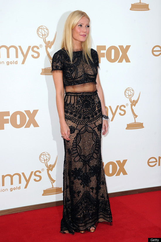 Beyonce's BFF Gwyneth Paltrow showed off her toned tummy in Emilio Pucci at the Emmy Awards