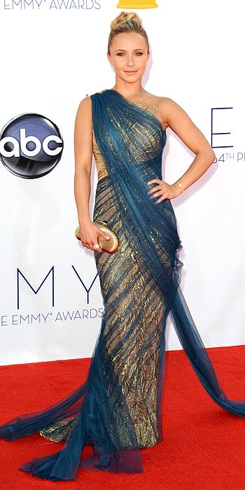 Hayden Panettiere was draped to perfection in Grecian style Marchesa at the 2012 Emmy Awards
