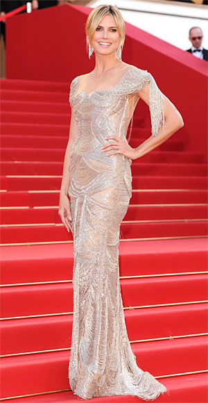 Heidi Klum brought some serious glamour to the Paperboy red carpet in a flapper inspired Marchesa gown