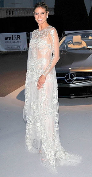 Heidi Klum is the queen of sheer in an embellised Marchesa gown