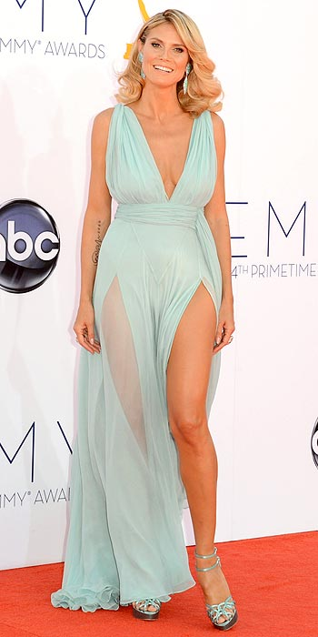 Heidi Klum shows off some serious leg in seafoam Alexandre Vauthier at the 2012 Emmy Awards