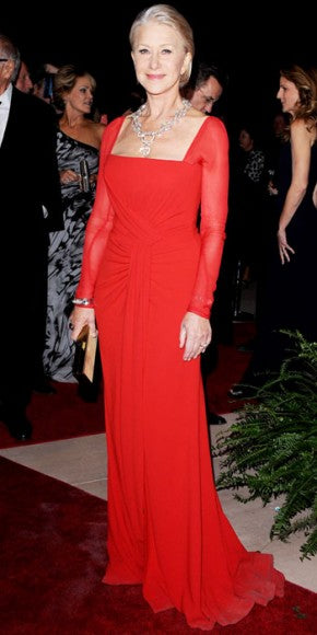 Helen Mirren dazzled in Palm Springs in a red Escada gown