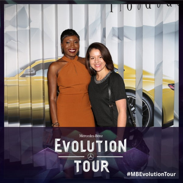 Blogger, Wemi Opakunle attends Mercedes-Benz 2015 Evolution Tour In Los Angeles with guest.