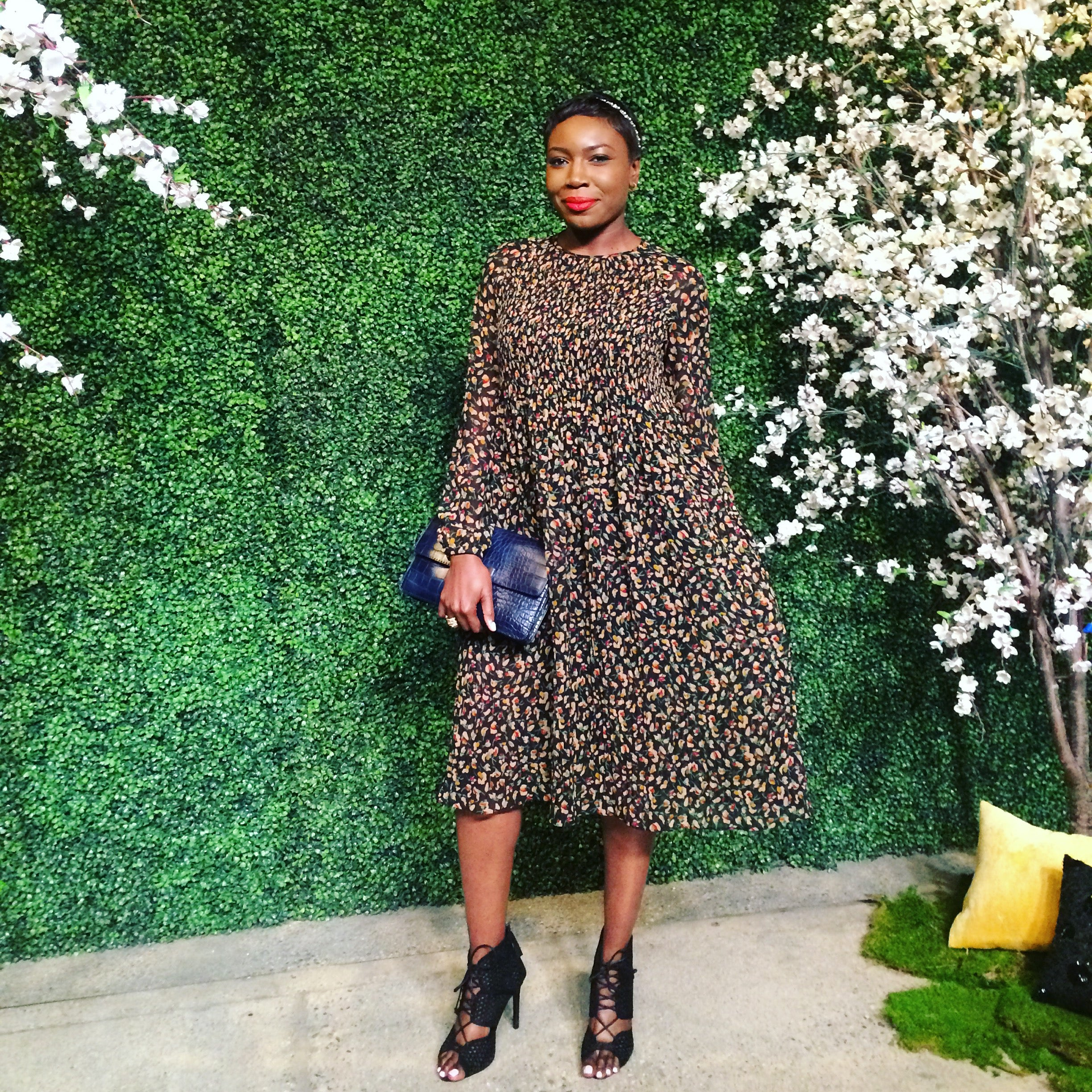 Blogger and Influencer, Wemi Opakunle entering the Alice and Olivia Runway Show at NeueHouse in Hollywood.