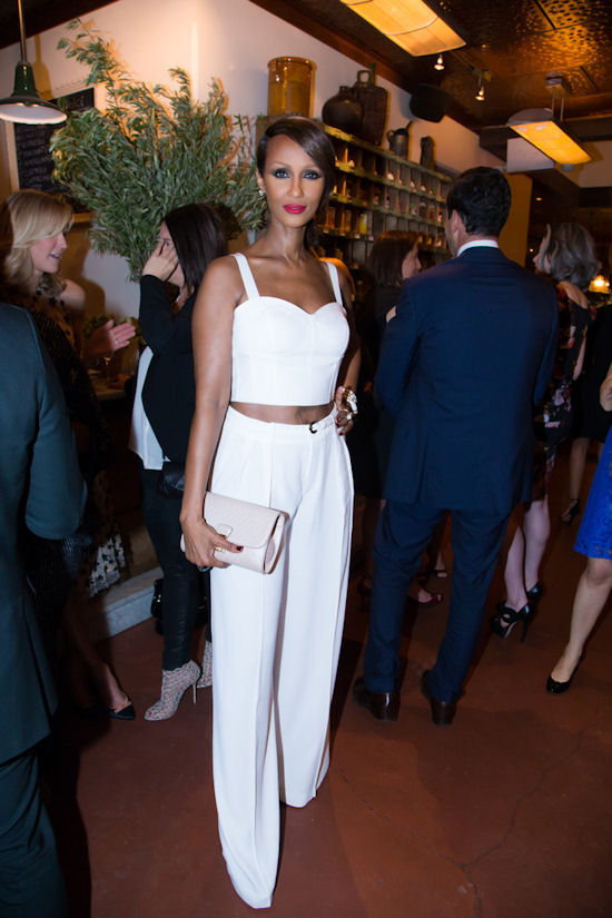 Iman - The 57 year old Supermodel paired her crop top with wide leg trousers