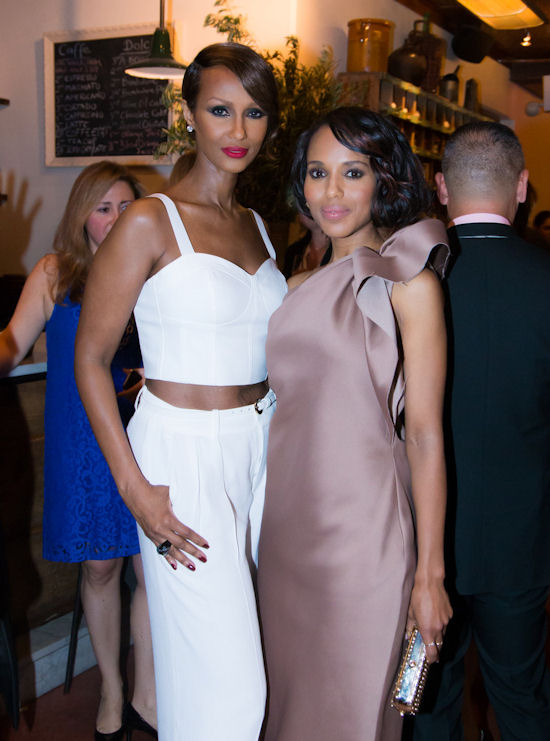 Iman showed she could also play the game - Here with Kerry Washington at an Elle Magazine dinner