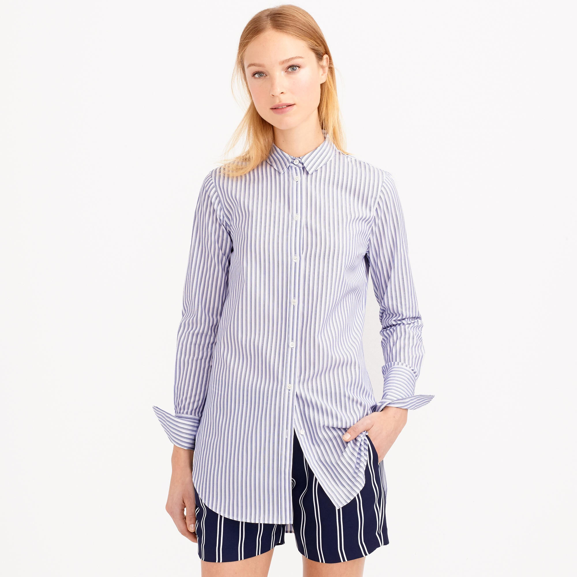 Stripes are also going to be huge this season.  Don't be afraid to for stripes on stripes. Above, J Crew Endless Shirt in Black Stripe.