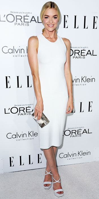 Jaime King glowed in a simple white Calvin Klein sheath at the Women in Hollywood event