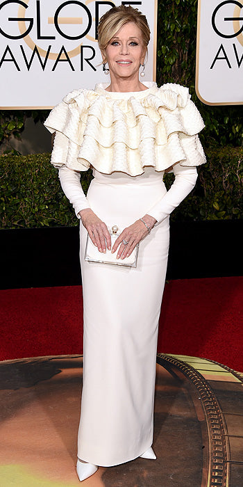 We love Jane Fonda but it is never a good idea to wear a ruffled bib in public. (Photo by Jason Merritt/Getty Images)