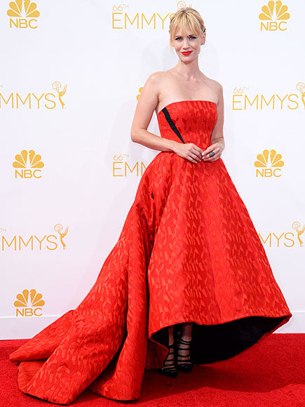 January Jones was one of the few who brought her A-game in Prabal Gurung. The cut  and bold color choice  is reminiscent of her mermaid Versace gown she wore to the 2010 Emmys.