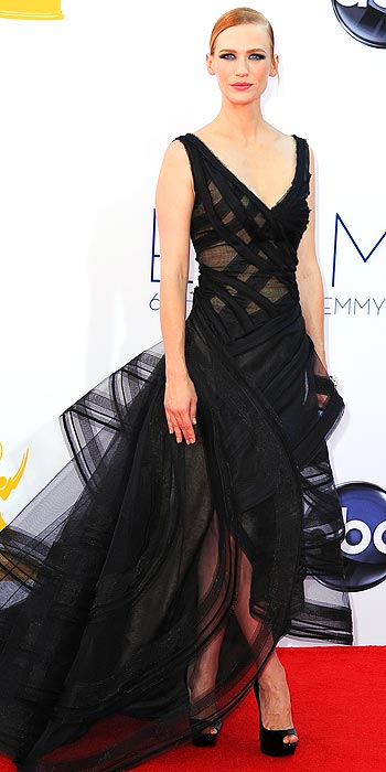 January Jones channels elegance with an edge in a black Zac Posen at the 2012 Emmy Awards