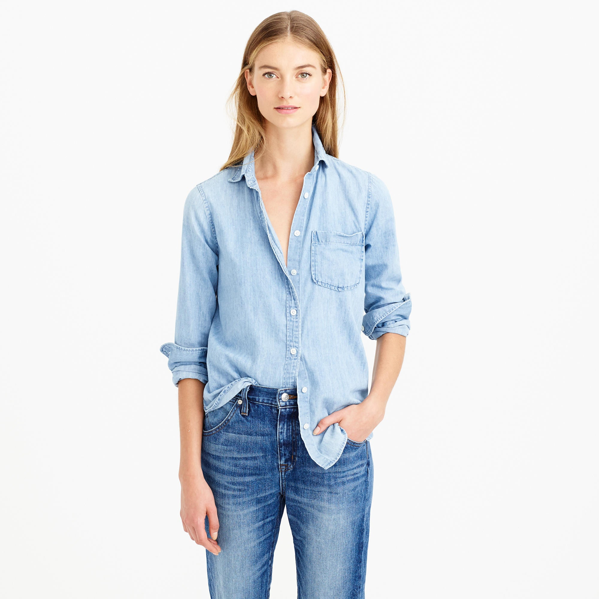 Prepare to see a lot of denim on denim for spring. Above, Jcrew Chambray Pocket Shirt.
