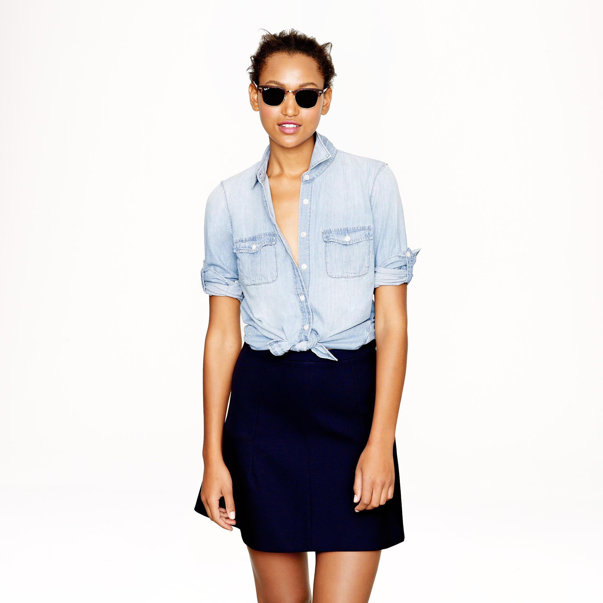 This spring is going to be all about the chambray denim shirt. Above, Jcrew Keeper Chambray Shirt