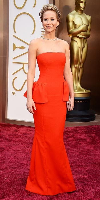 Jennifer Lawrence in red Dior