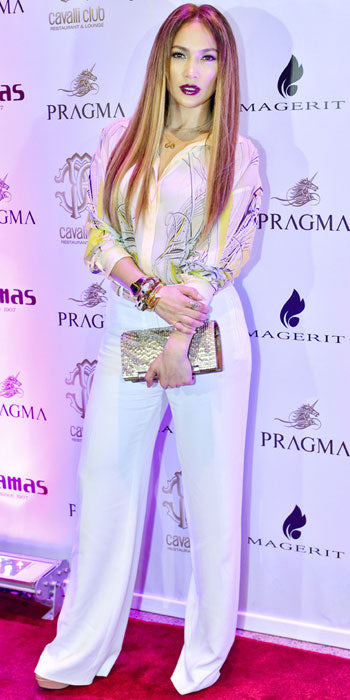 Jennifer Lopez attended the opening of the Cavalli Club in Dubai wearing head to toe pieces from the designer