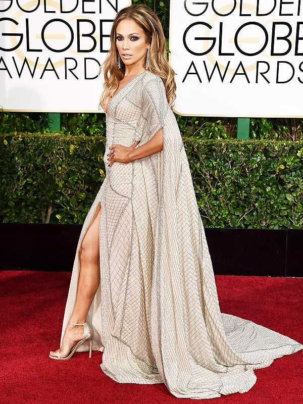 2013 Golden Globes - Jennifer Lopez in a nude lace Zuhair Murad number