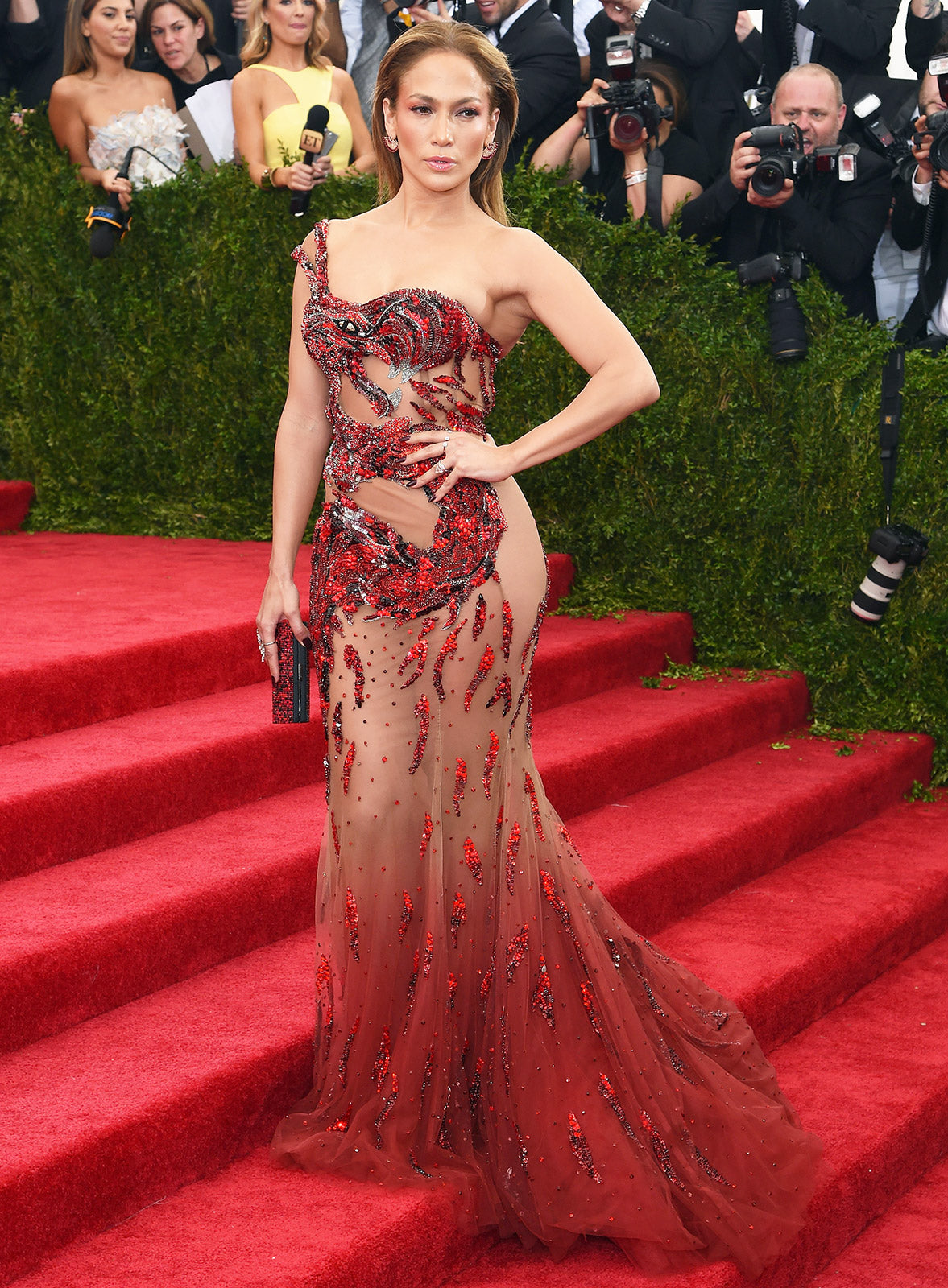 Is she the new Mother of Dragons? (GOT fans understand). Jennifer Lopez left little to the imagination in a Versace dress with a dragon embellishment.