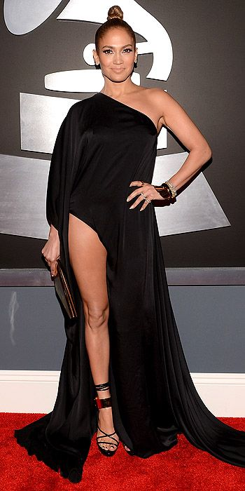 Jennifer Lopez was the first big miss of the night in this black number with thigh-high slit