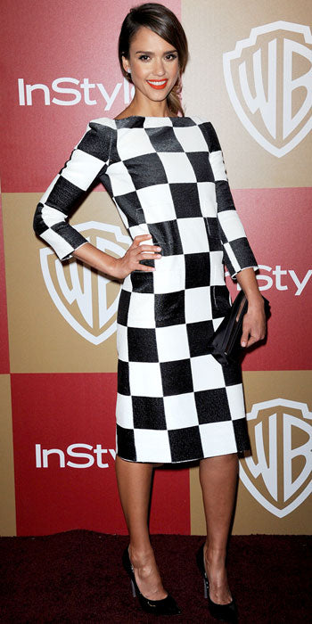 Jessica Alba channeled the 60s in a checker board Louis Vuitton sheath