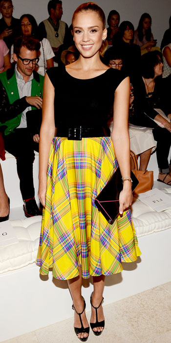 Jessica Alba goes for bold hued plaid at Calvin Klein