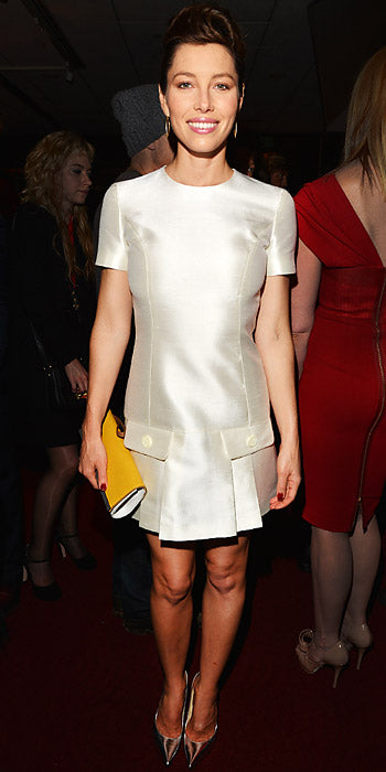 Jessica Biel went retro in a white Michael Kors shift dress