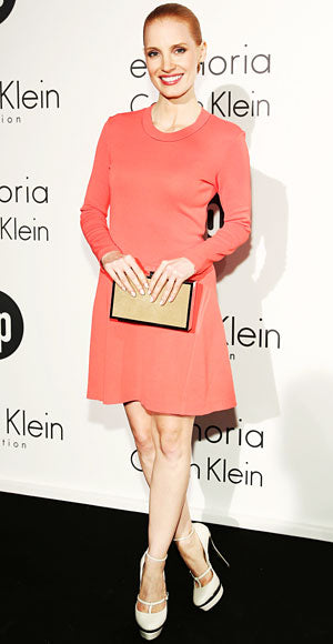 Jessica Chastain attended Calvin Klein's Women in Film celebration in a chic coral dress from the brand