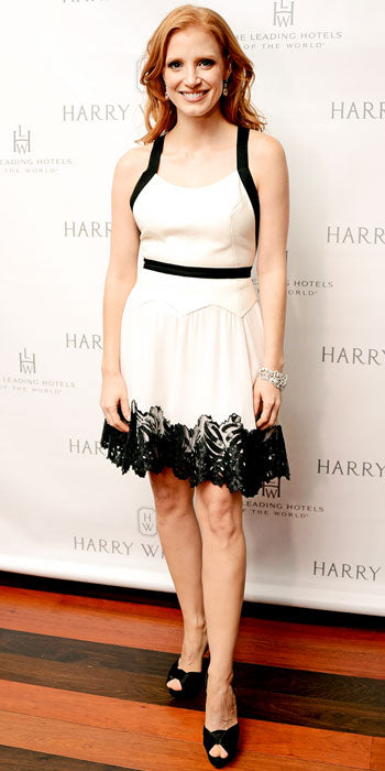 Jessica Chastain attended a Harry Winston dinner in flirty Jason Wu number