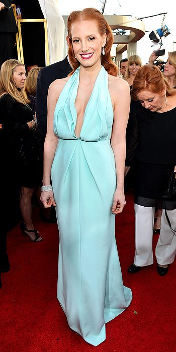 2013 Golden Globes - Jessica Chastain in powder blue Calvin Klein