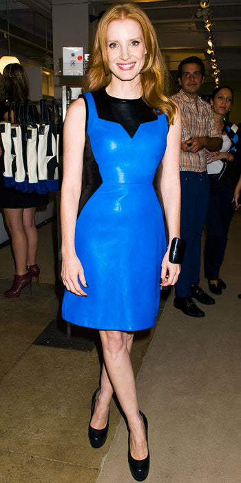 Jessica Chastain stepped out in a black and blue leather Jason Wu number