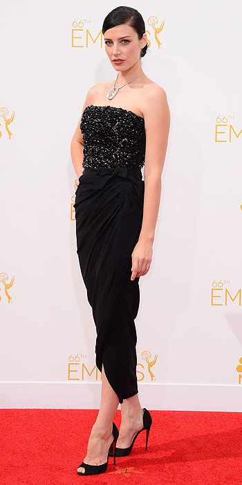 January's Mad Men co-star Jessica Pare also went with dramatic eyes paired with a blue Jason Wu halter