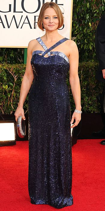 Jodi Foster opted for a blue sequined halter