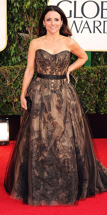 Julia Louis Dreyfus also opted for a dress with a lace underlay