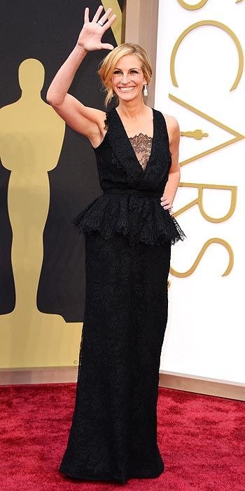 Julia Roberts in a black peplum lace gown