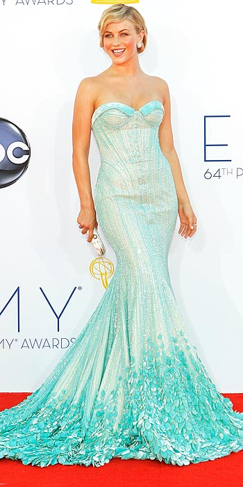 Julianne Hough arrives at the Emmy Awards sporting an OC Prom Queen look in a sequin aqua Georges Hobeika Couture gown
