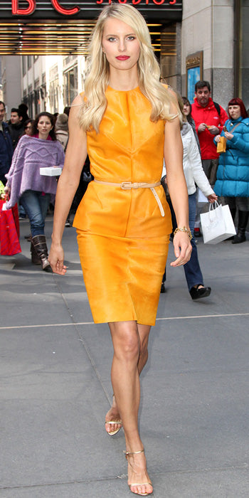 Karolina Kurkova looked gorgeous in marigold separates