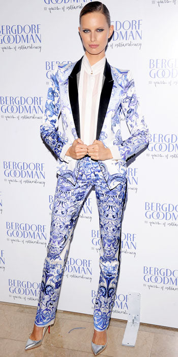 Karolina Kurkova played the edgy supermodel in a Roberto Cavalli printed suit while attending the Bergdorf anniversary party
